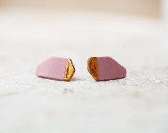 Alzette, porcelain and gold earrings, glazed .Porcelain jewelry
