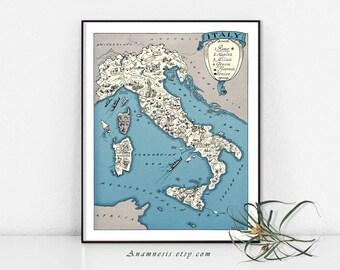 Italie - Italie imprimable carte, carte de l'Italie, carte murale Decor, Vintage Italie carte, téléchargement immédiat, carte photo carte murale Art, Italie