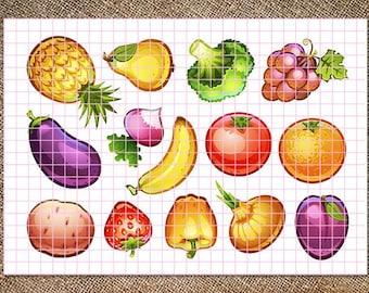 2 Printed sheets. Vegetables and fruits. Hard Korean Felt. Eco-polyester 100%.