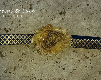 Navy & Gold Metallic Headband