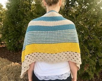 Crochet wrap PATTERN - modern Shawl - Crochet wrap pattern - poncho crochet pattern - Monday Morning Shawl