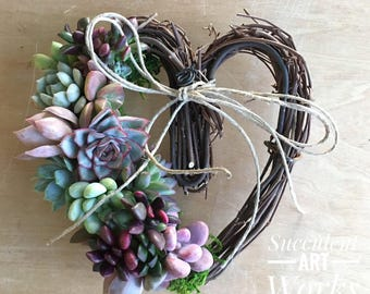 """Succulent Heart Wreath, 7"""" Succulent Heart, Valentines Day Gift gift, Thank you gift, Hostess gift, Birthday Gift, Bereavement Gift"""