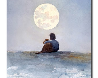 Boy with His Dog Looking at the Moon Art Tile Print on Ceramic with Hook or with Feet Indoor Use-Gift for boys or Dog Lover