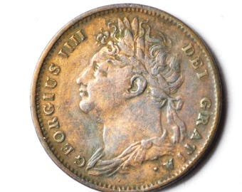 1825 Great Britain 1F Copper Farthing Rare KM677
