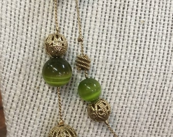 Double Strand Goldtone And Green Catseye Gemstone Adjustable Necklace