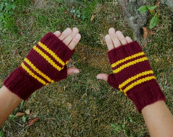 Harry Potter Inspired Gryffindor Fingerless Gloves - Texting Gloves Wristwarmers - Red and Gold Stripes Hand Knit Fingerless Mittens