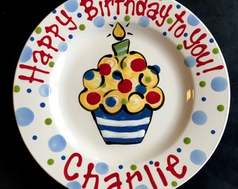 Hand Painted Birthday Plate - Bright Colorful Cupcake