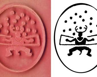 Petroglyph Schamanen Ritual Design Stempel-Werkzeug für PMC Keramik ScrapBooking & Textilien - Südwest Rock Art Schamane Figur Stempel