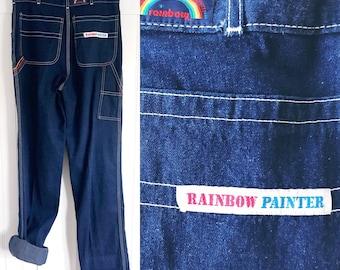 Vintage 70's high waisted Ladies Rainbow Painter Jeans
