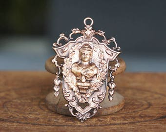 French Brass Stamping Ornate Baroque Neoclassical Goddess Woman Bust Statue Frame Pendant Handmade Supply