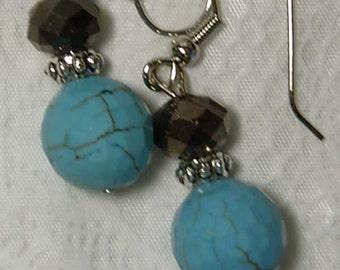 "Cynthia Lynn ""ARUBA"" Silver Plated Brown Crystal & Blue Green Turquoise Howlite Beaded Earrings"