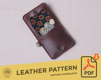 Leather Coin Pouch \\ Template Pattern PDF \\  Leather Crafting \\ PDF Pattern \\ Leathercraft Pattern \\ Leather Pattern \\ DIY pattern
