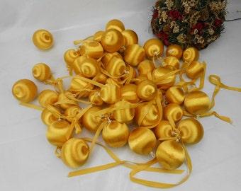 Vintage gold satin Christmas Balls unbreakable Christmas ornaments gold satin ball ornament 50 satin ornaments kids Christmas ornaments