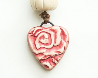 Rose Heart Polymer Clay Pendant and Bead Set