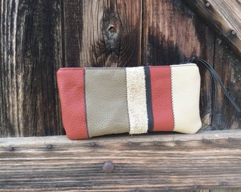 Multicolor striped leather pouch