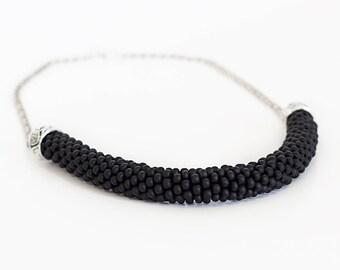 Beaded Necklace, black Necklace, Beaded Rope, gift, crochet necklace, Bead Necklace, Statement Necklace, Beaded Jewelry, Minimalist jewelry