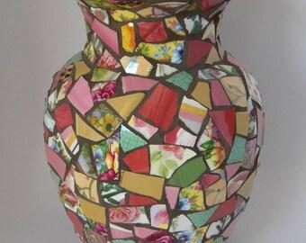 Floral Mosaic Vase, Flower Vase, Mother's Day, Gift for Godmother, Cottage Chic Vase, Bridal Shower Gift, Grandmother Gift, Engagement Gift