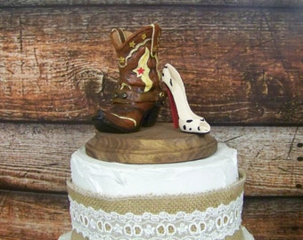 Wedding Cake Topper- Western Cowboy Boot with Stilleto-Grooms Cake Topper, Rustic Cake Topper,
