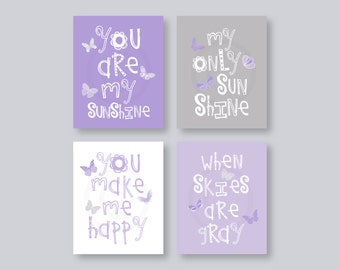 Butterfly Wall Art Kids, Purple Nursery Decor, Lavender Nursery Art, You Are My Sunshine Art Prints, Purple Gray Set of 4 PRINTS or CANVAS