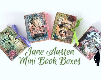 Jane Austen Mini Book Party Favors | Miniature Books | Birthday Shower Tea | Emma Persuasion Mansfield Park Pride Prejudice | Personalize 35