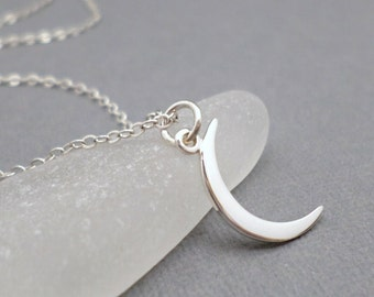 Silver Moon Necklace. Free Shipping. Small Sterling Crescent Moon Choker. Celestial Symbolic Jewelry. Delicate Dainty. Zen Yoga Minimalist.