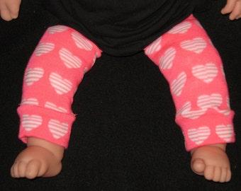 Leg warmer, Infant, Newborn- Valentines pink with white heart - infant leg warmer, newborn leg warmer, baby girl leg warmer, baby leg warmer
