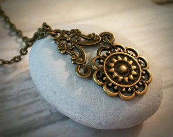 Vintage Necklace / Boho Necklace / Victorian Necklace / Bronze Necklace / Bohemian Necklace