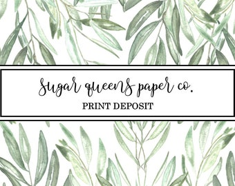 DEPOSIT: 2018 Sugar Queens Paper Co. Deposit for Wedding + Event Professional Print Services