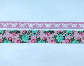 """Skinny Butterfly (10mm) and Wide Floral (20mm) Washi Tape 24"""" Sample Set - Bobbins"""