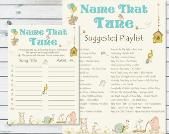 Name That Tune Game, Name That Baby Tune, Guess The Name Of The Songs, Printable Baby Shower Song Game, Storybook Baby Shower