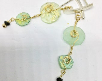 Dangle wrapped Ancient Roman Glass Earrings with gold-filled wire and silver butterfly closure, Light long earrings,