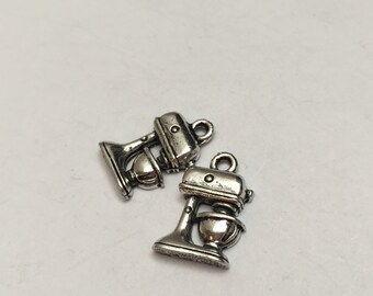 2 pc pewter kitchen mixer charm, cooking charm, jewelry supplies