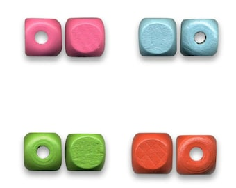 100 or 200 and 500 wood cube raw 12 mm sky blue, pink, green or red