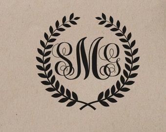 Wedding  Stamp  Monogram Custom Personalized Wedding Stamp  Rubber Stamp Self Inking Stamp