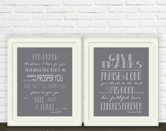 Jeremiah 29/11 & 1 Chronicles 16/34 Printable Art // Bible Verse Wall Art Set of Two // Instant JPEG Download // Scripture Print  in grey
