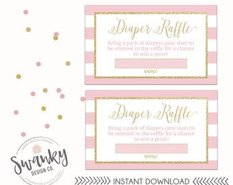 Pink and Gold Diaper Raffle Tickets, Pink and Gold Baby Shower, Gold Glitter Diaper Raffle Tickets, Pink and White Striped Baby Shower