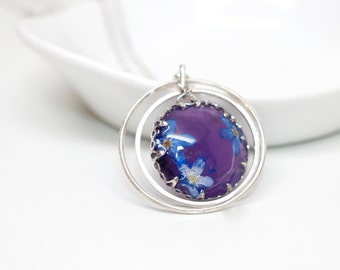 Real flower and purple Amythest dangle pendant - white gold plated silver necklace