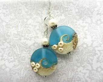 Ocean Wave Lampwork Earrings Beach Earrings Glass Bead Earrings Dangle Drop Earrings Handmade Earrings SRAJD USA Handmade