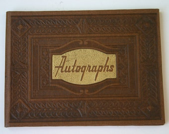 Vintage Autograph Book with Cartoons 1945