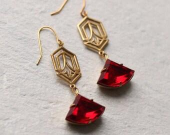 Art Deco Earrings, Ruby Earrings, Red Jewel Earrings, Garnet Earrings, July Birthstone, January Birthstone