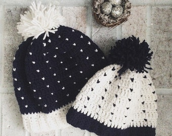 Mommy and Me Beanies | Mommy and Me Hats | Navy and White Fair Isle