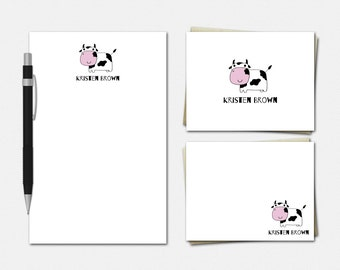 Cow Stationery - Personalized Stationery - Personalised Stationary Set - Personalized Notepad and Note Cards - Stationery for Kids