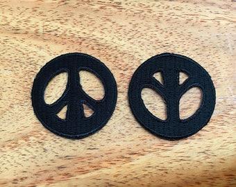 Set 2 pcs. Black Color Little Peace Sign Iron On Patch Embroidered Applique
