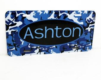 Kids Custom License Plate Name Sign, Custom Name Sign for Kid's Room, Children Birthday Gift, Camouflage Kids Bedroom Decor, Kids Door Sign