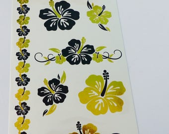 Board black and gilded gold temporary tattoo flower hibiscus Temporary tattoos