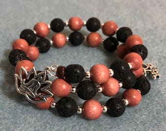 Wood and lava beads with yoga charms on memory wire