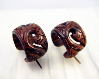 Round Hoop Hand Carved Wood Post Earrings Tribal Style  - PE014 RW