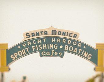 Santa Monica Pier Sign Print, Santa Monica Wall Art, Home Decor, Photography Prints & Canvas Wraps