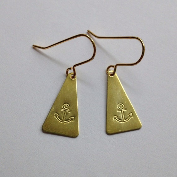 Triangle Anchor Earrings in Brass - Nautical - Sailor - Sailor Jerry - Tattoo - Boat - Festival - Golden - Gold - Hello Sailor - Earrings
