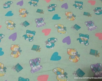 Flannel Fabric - Teddy Bears and Hearts- By the yard - 100% Cotton Flannel